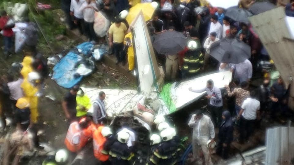 A small chartered plane crashed in Mumbai's Ghatkopar on June 28, killing five people.  (Vijayanand Gupta/ HTPhoto)