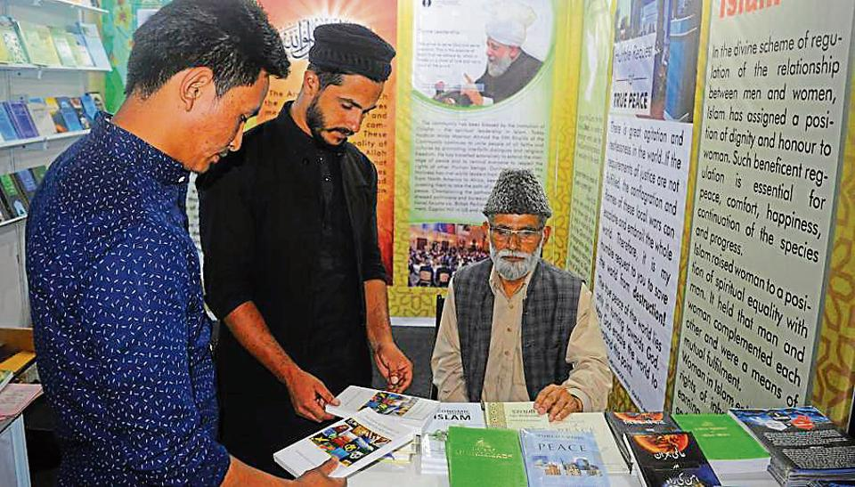 Books on lack of peace in today's world, written by Hazrat Mirza Masroor Ahmad, leader of the Ahmadiyya Muslim community and fifth successor of Ghulam Mirza, are being distributed for free at the book fair.