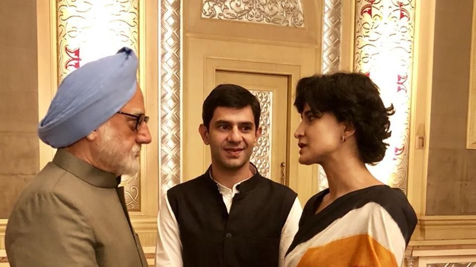 Anupam Kher shared the first look of Aahana Kumra as Priyanka Gandhi and Arjun Mathur as Rahul Gandhi in The Accidental Prime Minister.
