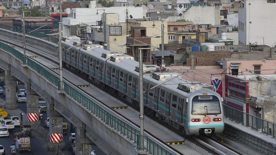 A view of Delhi Metro's green line line which opened from Mundka to City Park Metro Station.