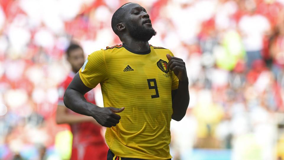 Romelu Lukaku in action during the 2018 FIFA World Cup Group G match between Belgium and Tunisia at the Spartak Stadium in Moscow on June 23, 2018.