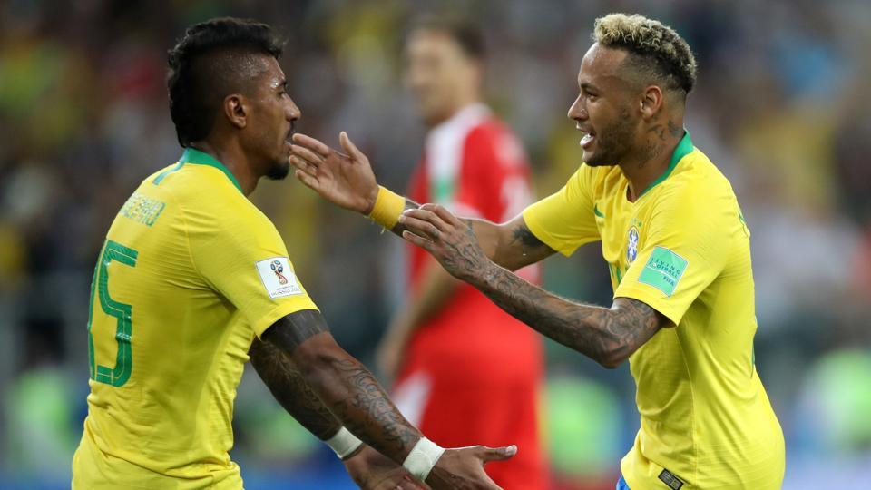 Brazil's Paulinho celebrates scoring their first goal against Serbia with Neymar in a FIFA World Cup 2018. (REUTERS)