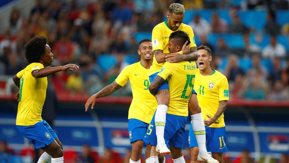 Brazil topped the group E with seven points. (REUTERS)