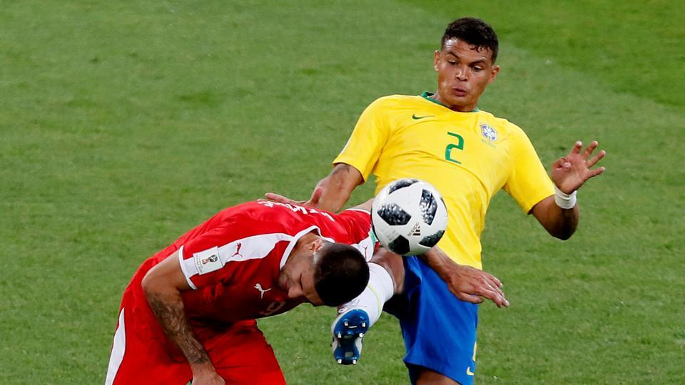 Brazil got their second goal through Thiago Silva in the 68th minute. (REUTERS)