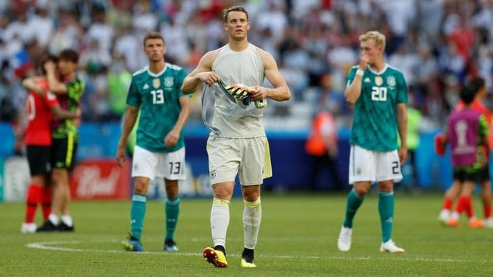 Germany's Manuel Neuer (grey) looks dejected after the match vs. Mexico at the Kazan Arena, Kazan, Russia on June 27, 2018 as they exited of the FIFAWorld Cup 2018.