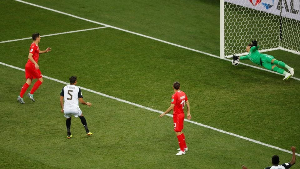 Switzerland's Yann Sommer scored an own goal as the match ended in a 202 draw. (REUTERS)