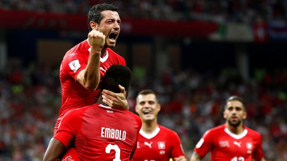 In the other match of Group E, Switzerland took the lead with Blerim Dzemaili's goal in the 31st minute. (REUTERS)