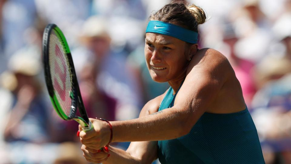 Belarus' tennis player Aryna Sabalenka in action during her quarterfinal against Czech Republic's Karolina Pliskova at the Nature Valley International in Devonshire Park, Eastbourne, on Thursday.