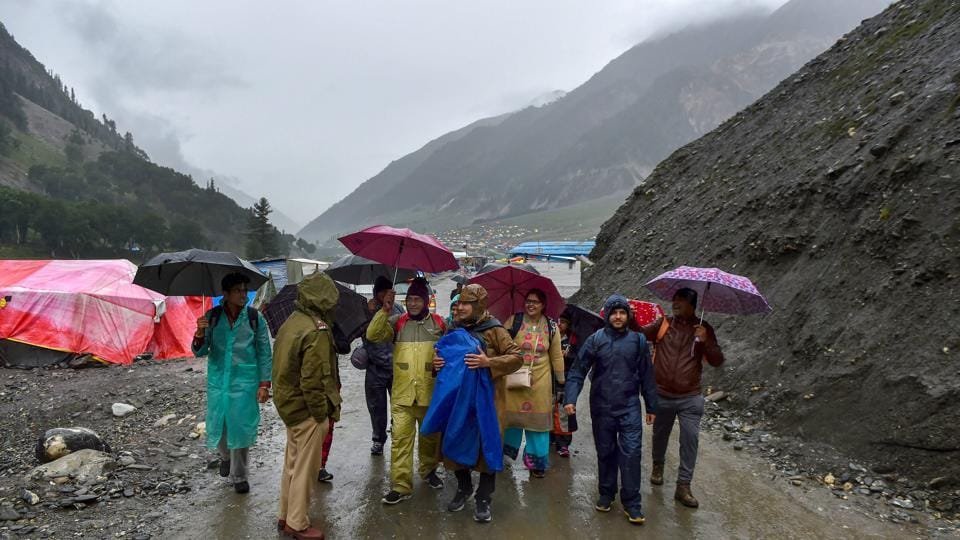First batch of Amarnath pilgrims arrive at the base camp at Baltal, in Ganderbal district of central Kashmir on Thursday, June 28, 2018.