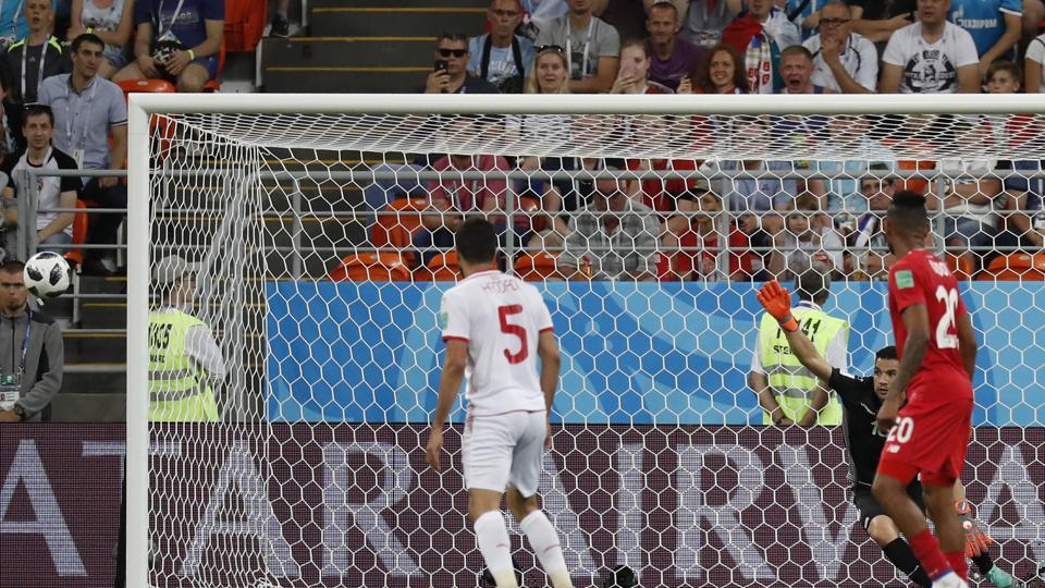 Tunisia's Yassine Meriah,  scores an own goal during the group G match between Panama and Tunisia at the 2018 soccer World Cup in the Mordovia Arena. (AP)