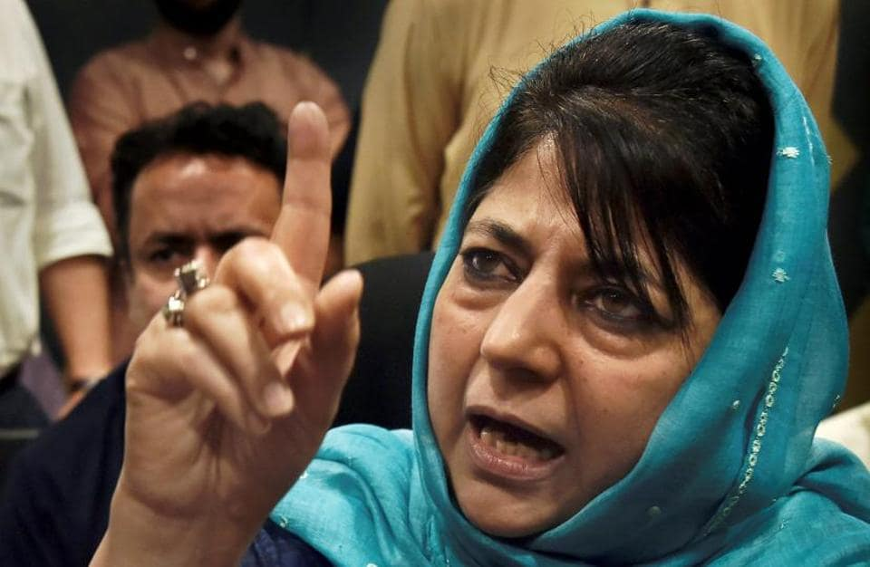 Former Jammu and Kashmir chief minister Mehbooba Mufti addressing a press conference in Srinagar, June 19