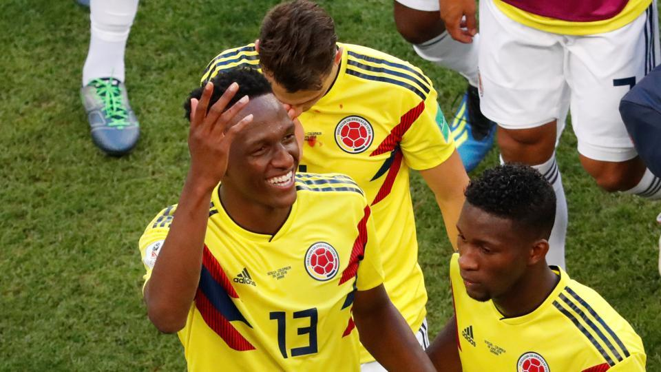 Yerry Mina's goal helped Colombia top Group H with a 1-0 win over Senegal in the FIFA World Cup 2018 match at the Samara Arena on Thursday. (Reuters)