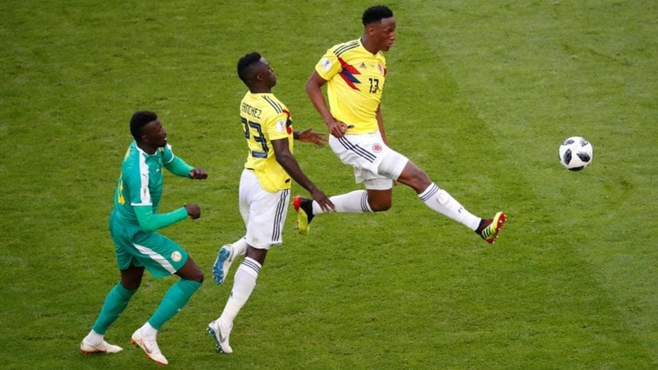 Yerry Mina's 74th minute goal was enough for the South Americans, who had reached the quarterfinals of the previous World Cup in Brazil. (REUTERS)