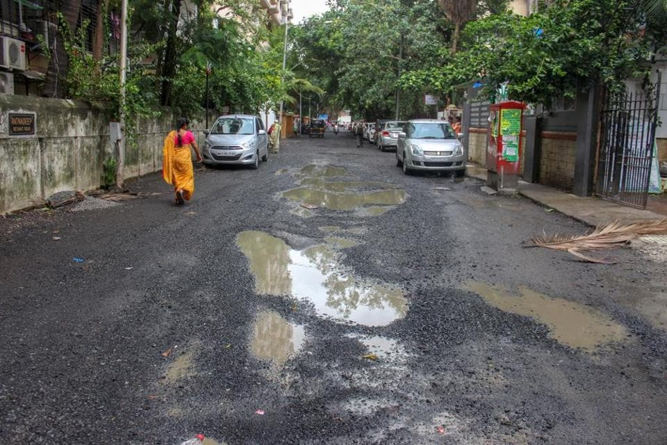 Potholes at Besant road, Santacruz.