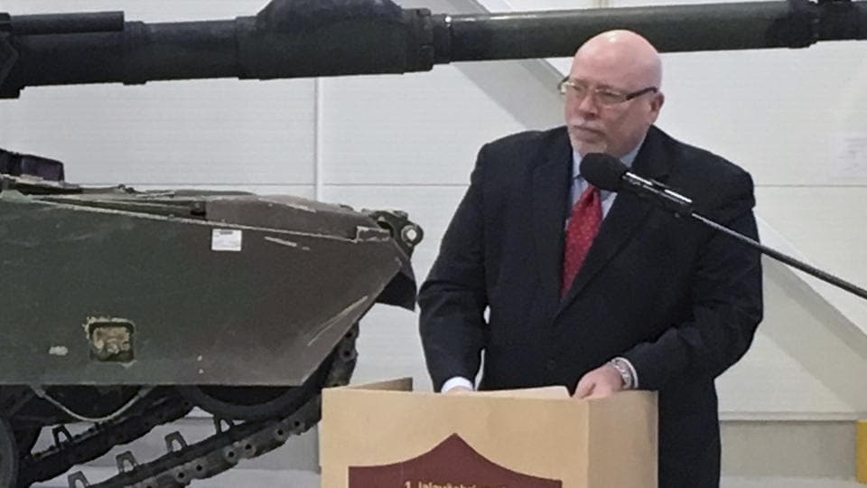 US ambassador to Estonia James D Melville Jr. at a hand-over ceremony of the upgraded NATO military base in Tapa, Estonia, in December 2016.