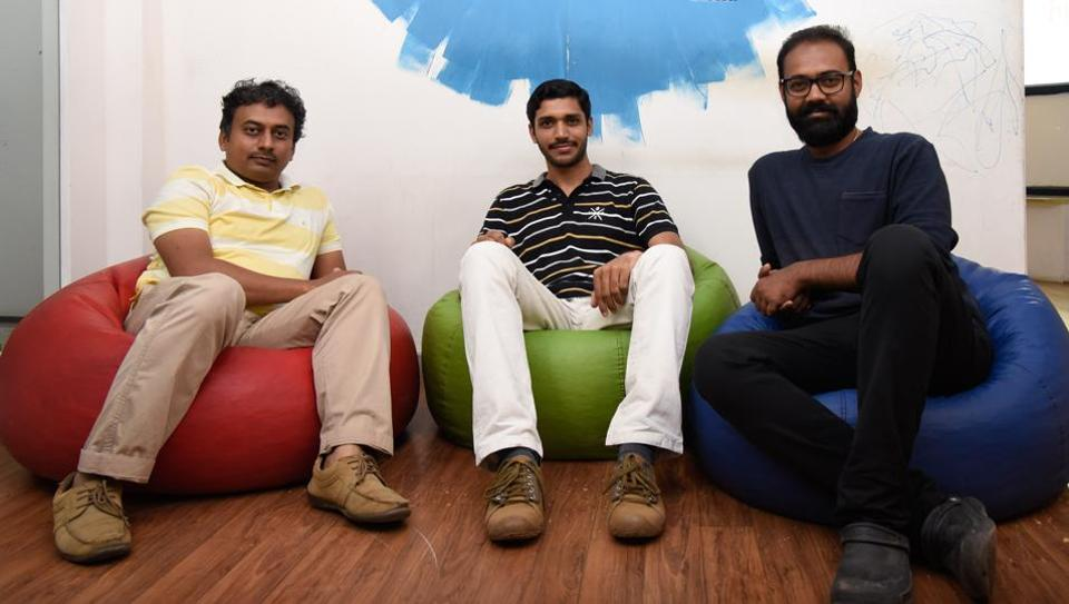 (From left) Madan Bhintade, Nisarg Pandya and Prajwal Mulkalwar of DriveBuddyAI.