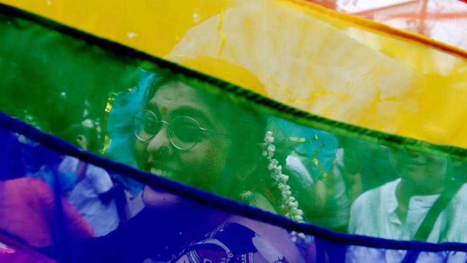 A  supporter of the lesbian, gay, bisexual, transgender (LGBT) community takes part in a pride parade in Chennai on June 24, 2018. (Arun Sankar / AFP)
