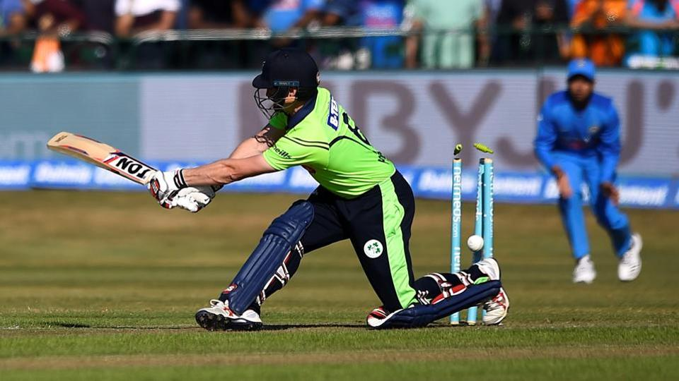 Ireland's William Porterfield loses his wicket.  (REUTERS)