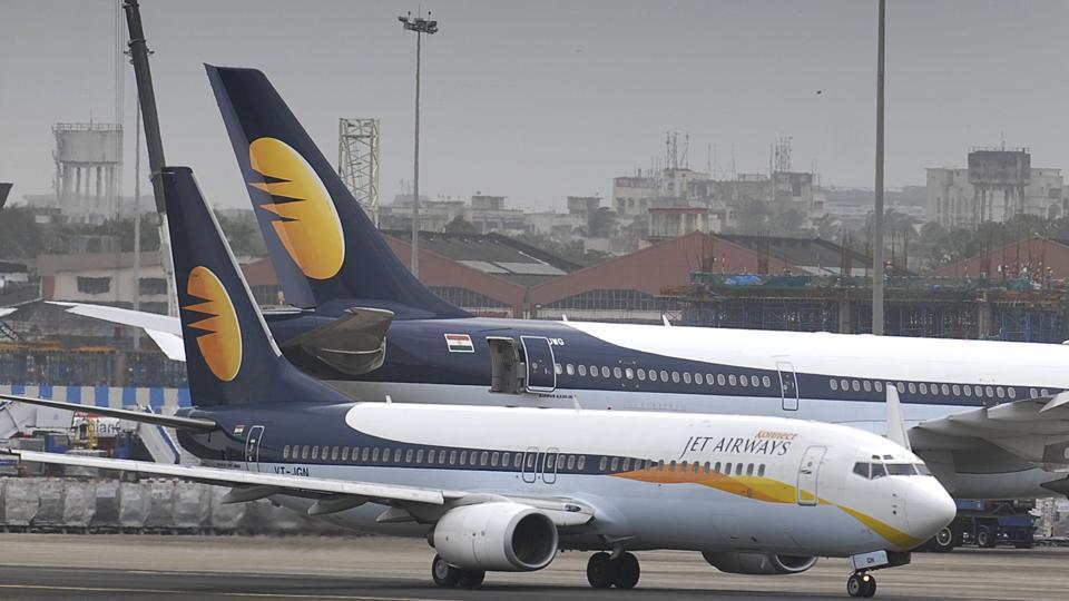 Jet Airways aircraft at Mumbai International Airport in Mumbai.