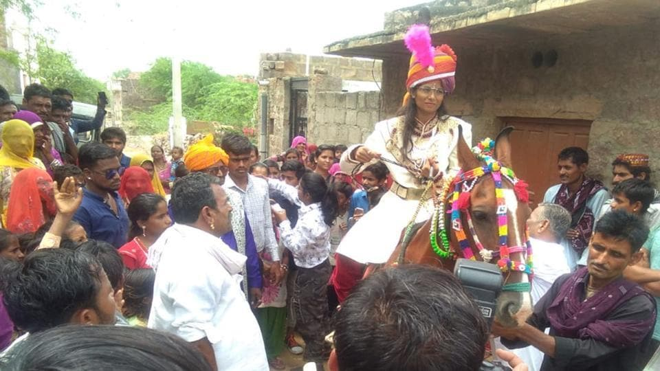 Bijli Vaghela (22) rides a mare at her marriage in Barmer district on Friday.