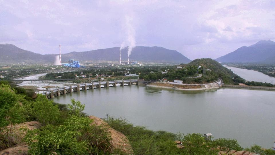 Cauvery river flowing through Mettur Dam in Tamil Nadu.