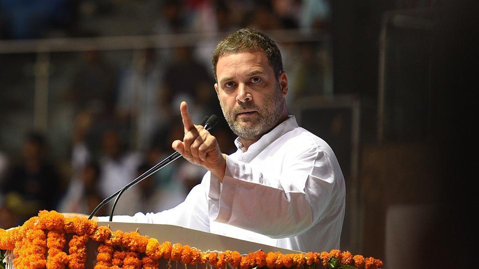 Congress president Rahul Gandhi addresses a convention at Talkatora Stadium in New Delhi.