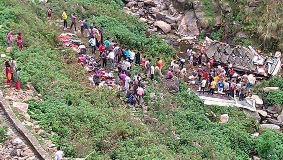 At least 48 people died and 11 injured when an overcrowded bus fell into a gorge near Gueen village in Pauri district on Sunday.