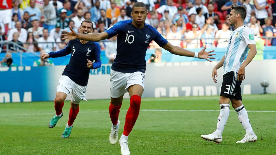 France's Kylian Mbappe celebrates scoring their fourth goal against Argentina in the FIFA World Cup 2018.
