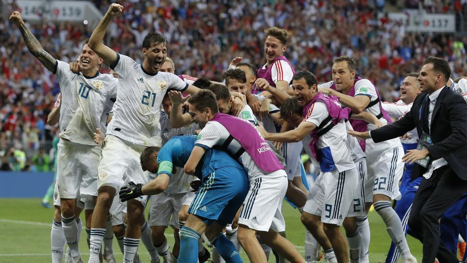 Russia beat Spain to reach the FIFA World Cup 2018 quarterfinals in Moscow on Sunday. (AP)