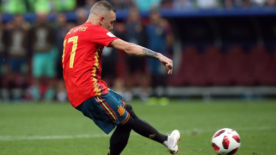 Spain's Iago Aspas misses a penalty during the shoot-out. (REUTERS)