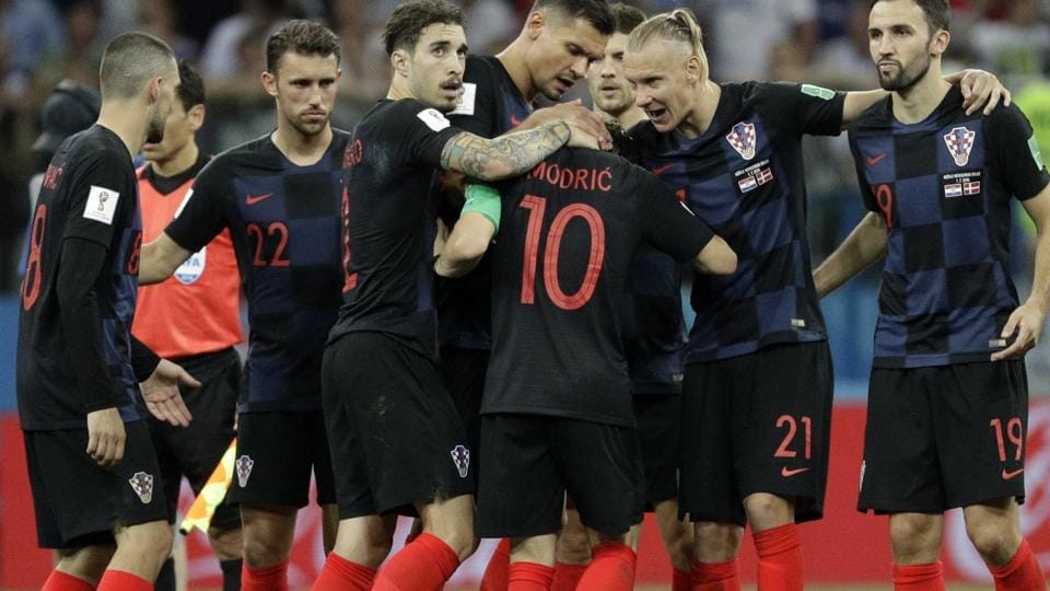 Croatia players celebrate after their win against Denmark on penalties. (AP)