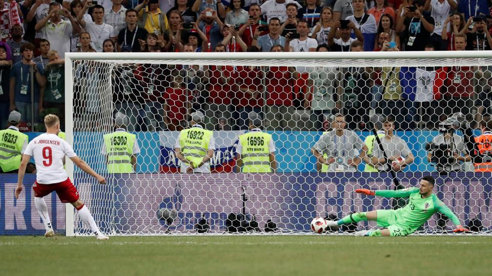Croatia's Danijel Subasic saves a penalty by Denmark's Nicolai Jorgensen during the shootout. (REUTERS)