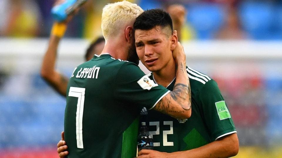 Mexico's Hirving Lozano and Miguel Layun look dejected after the match. (REUTERS)