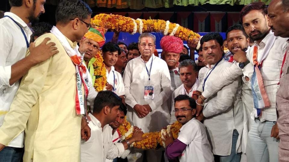 Former BJP leader Ghanshyam Tiwari at the launch of his party Bharat Vahini Party in Jaipur on Tuesday.