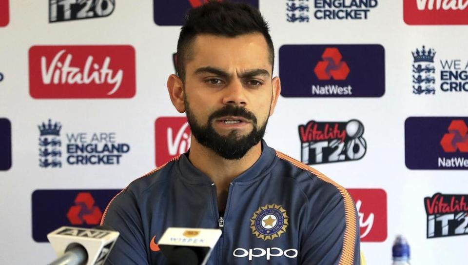 India's Virat Kohli speaks to the media during a press conference, before their Twenty20 international cricket match against England on Tuesday at The Emirates Old Trafford, Manchester, England on July 2, 2018.  (AP)