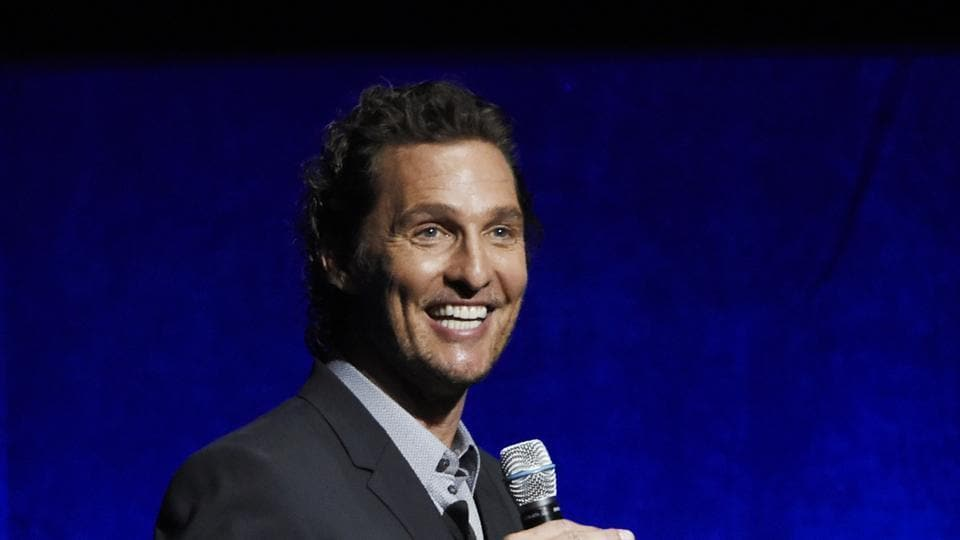 Matthew McConaughey, a cast member in the upcoming film White Boy Rick, addresses the audience during the Sony Pictures Entertainment presentation at CinemaCon 2018.