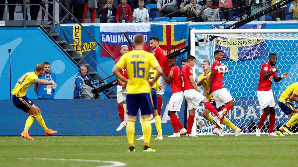 Sweden's Ola Toivonen shoots at goal from a free kick. (REUTERS)
