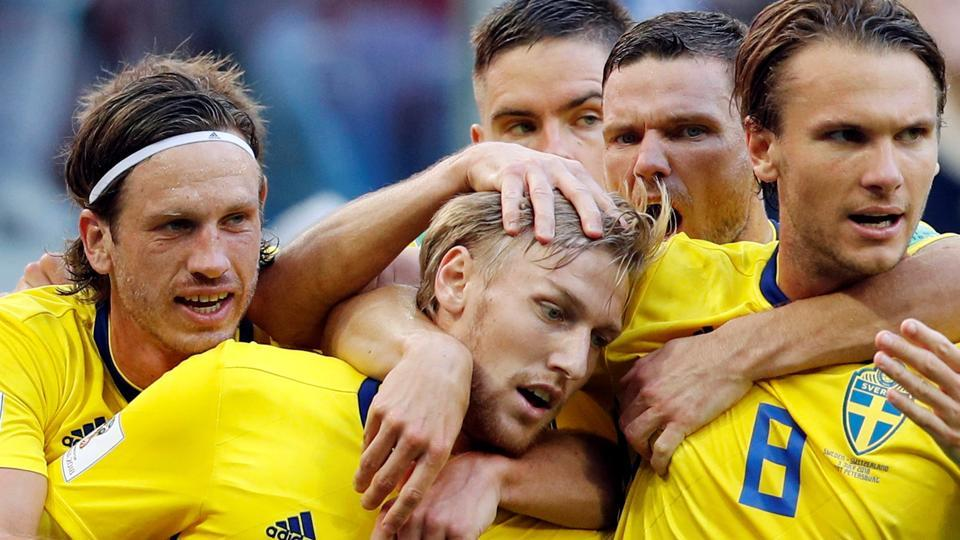 Sweden's Emil Forsberg celebrates scoring their first goal with team mates. (REUTERS)