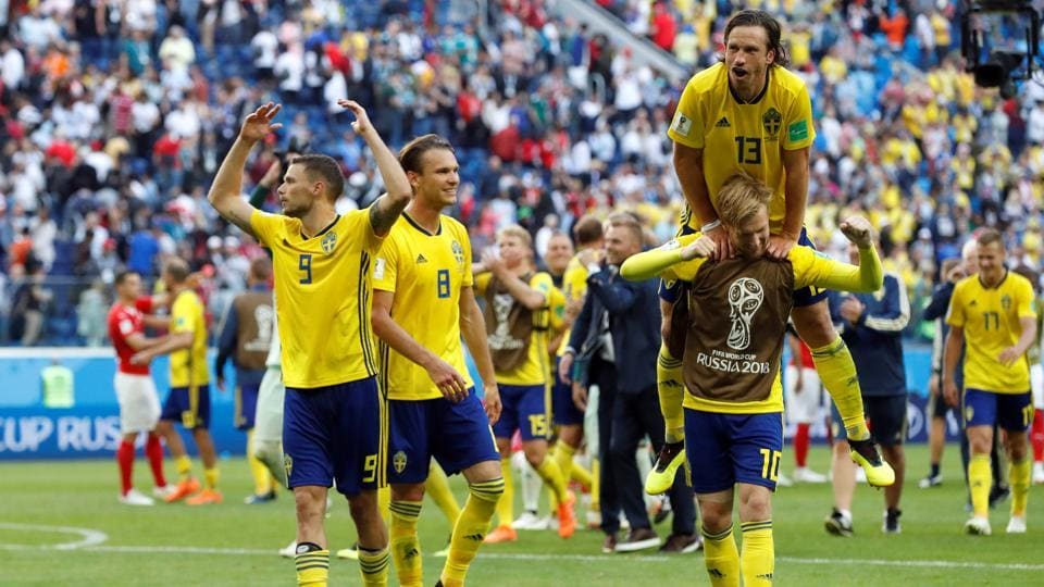 Sweden's players celebrate after beating Switzerland in the FIFA World Cup Rd of 16 match 1-0 and booking their spot in the quarter-finals. (REUTERS)