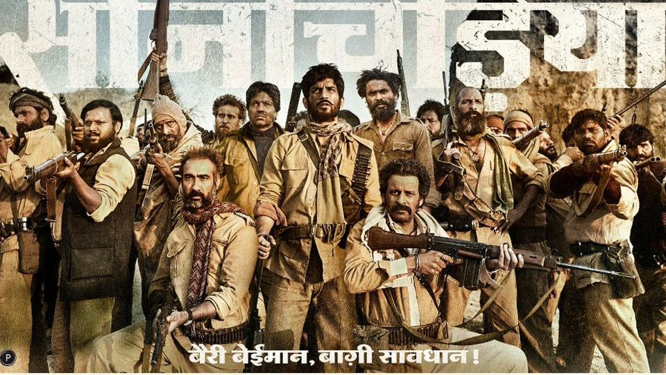 The cast of Sonchiriya huddle up on the poster.