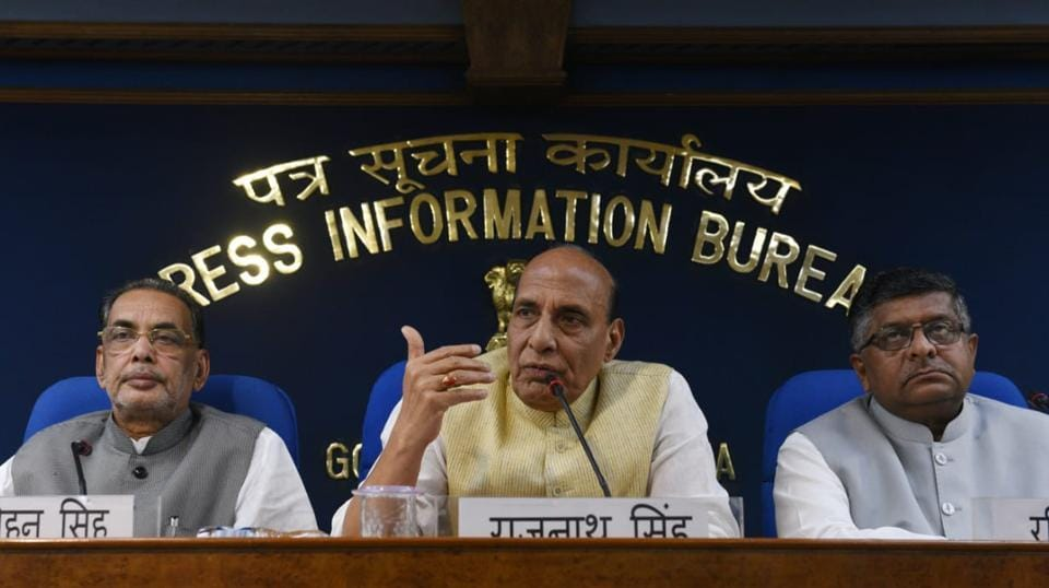 "The Union Cabinet chaired by PM Narendra Modi on Wednesday gave its nod for the continuation, up to 2020, of eight schemes of the Home Ministry for relief and rehabilitation of migrants under the umbrella scheme, ""Relief and Rehabilitation of Migrants and Repatriates."" Addressing the media, Union Minister Rajnath Singh said the financial implication for this decision is Rs 3,183 crore for the period 2017-18 to 2019-20. (Vipin Kumar / HT Photo)"