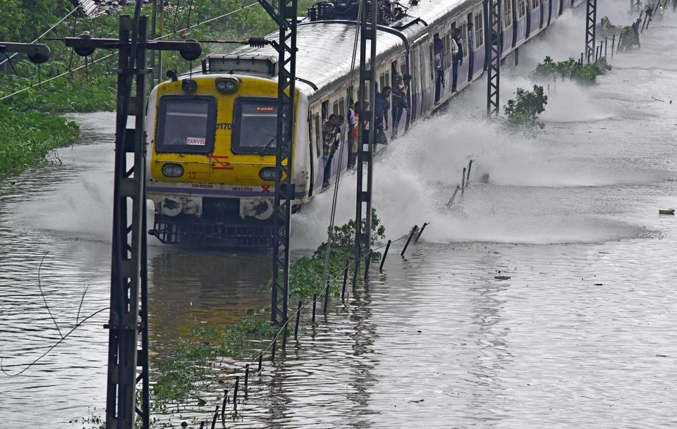 Waterlogging on the railway track between Kurla and Tilaknagar railway stations on Tuesday.