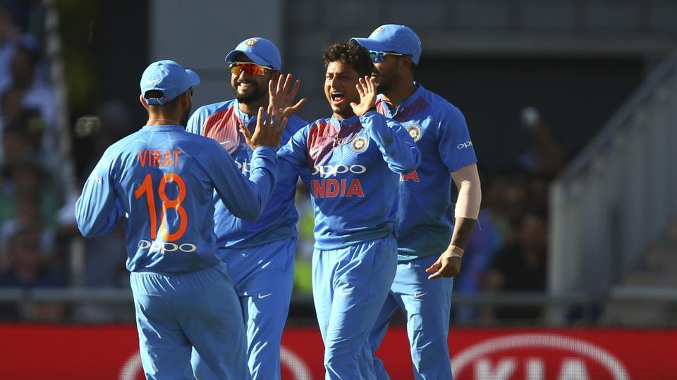But Kuldeep Yadav, center, took three wickets in the 14th over to leave the hosts in all sorts of trouble.  (AP)