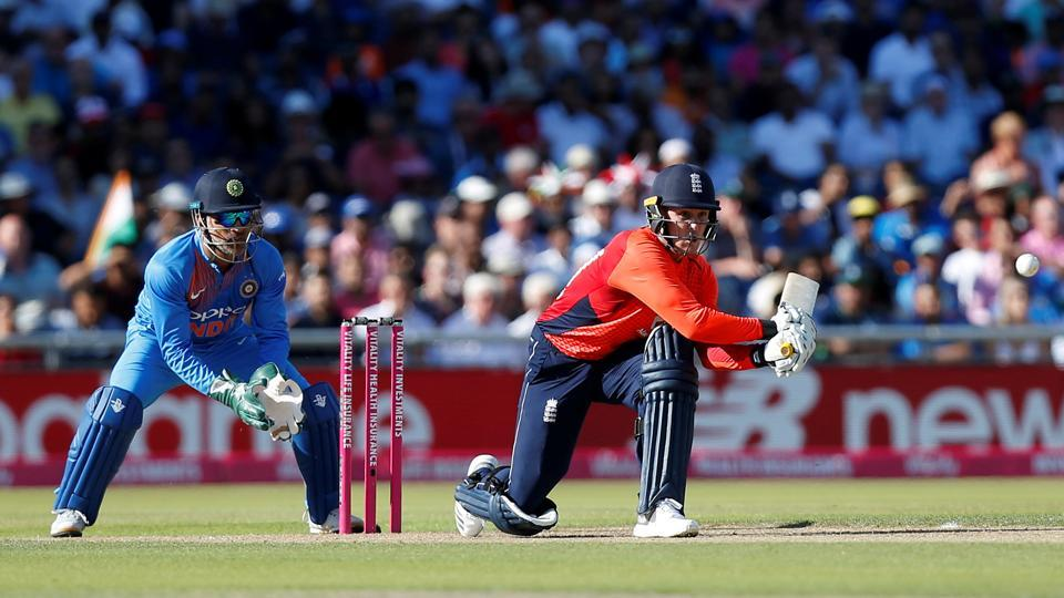 Asked to bat, England got off to an impressive start with their openers Jason Roy (in pic) and Jos Buttler stitching a 50-run stand.  (Action Images via Reuters)