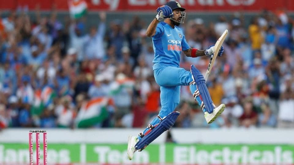 India's KL Rahul celebrates after reaching century-mark against England in the first T20 in Manchester.