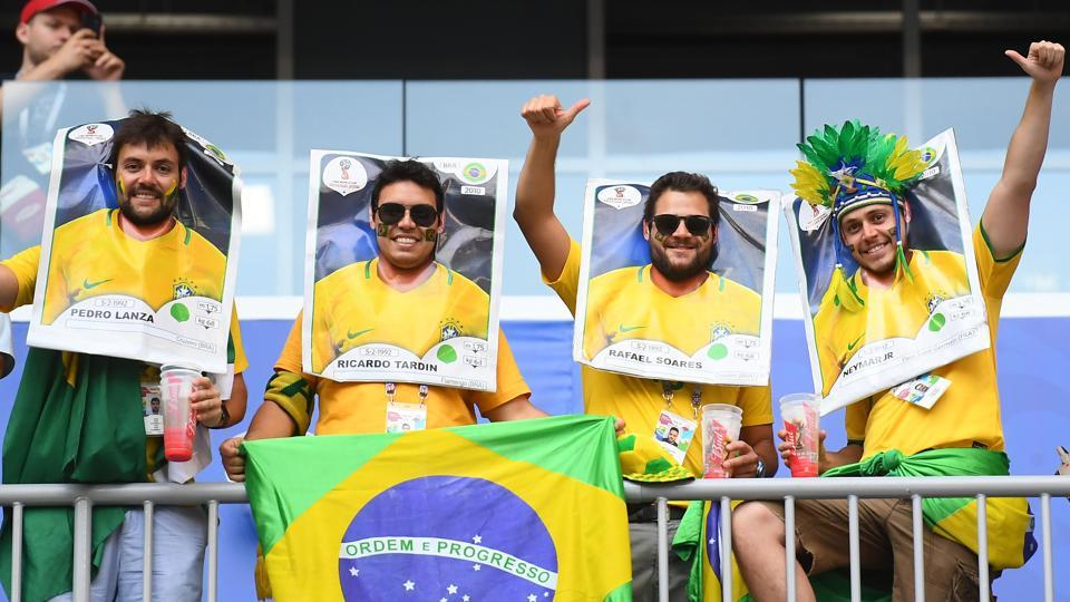 Brazil's fans cheer prior to the Russia 2018 World Cup round of 16 football match between Brazil and Mexico at the Samara Arena in Samara. (AFP)