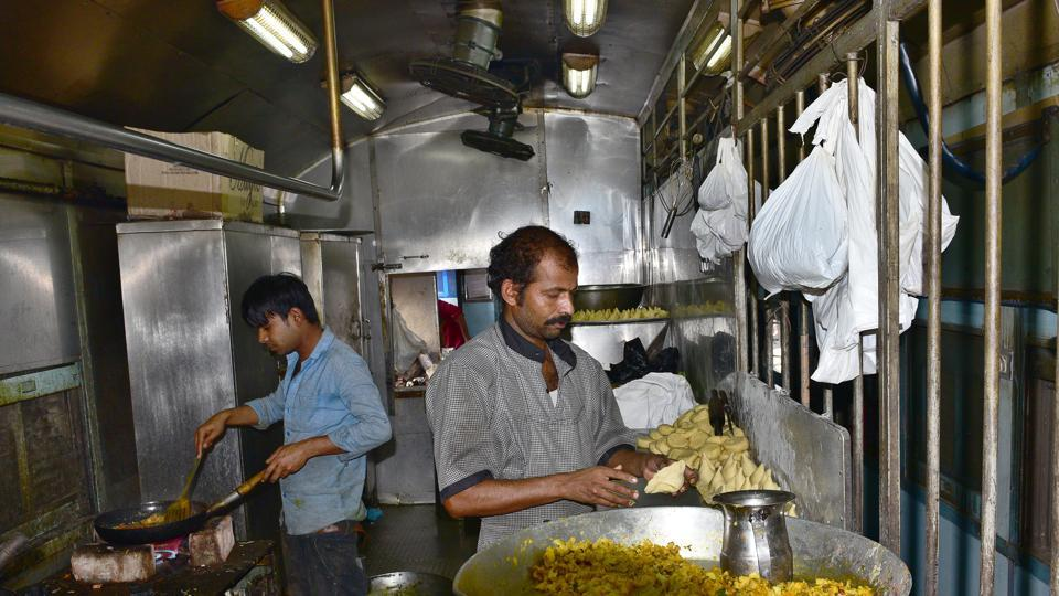 Food being prepared in Train Pantry at Ludhiana Railway station.