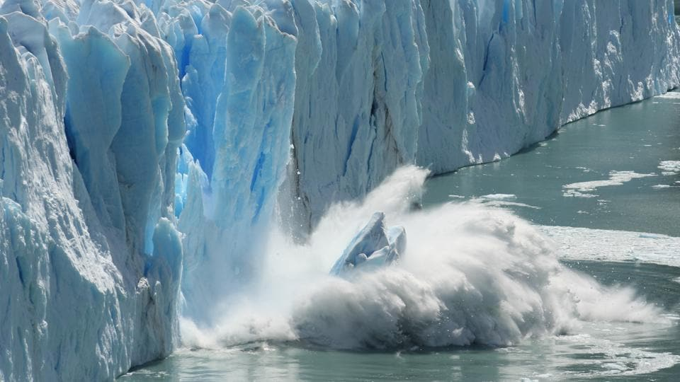 Melting glaciers, causing sea levels to rise, are a clear sign of climate change and global warming.
