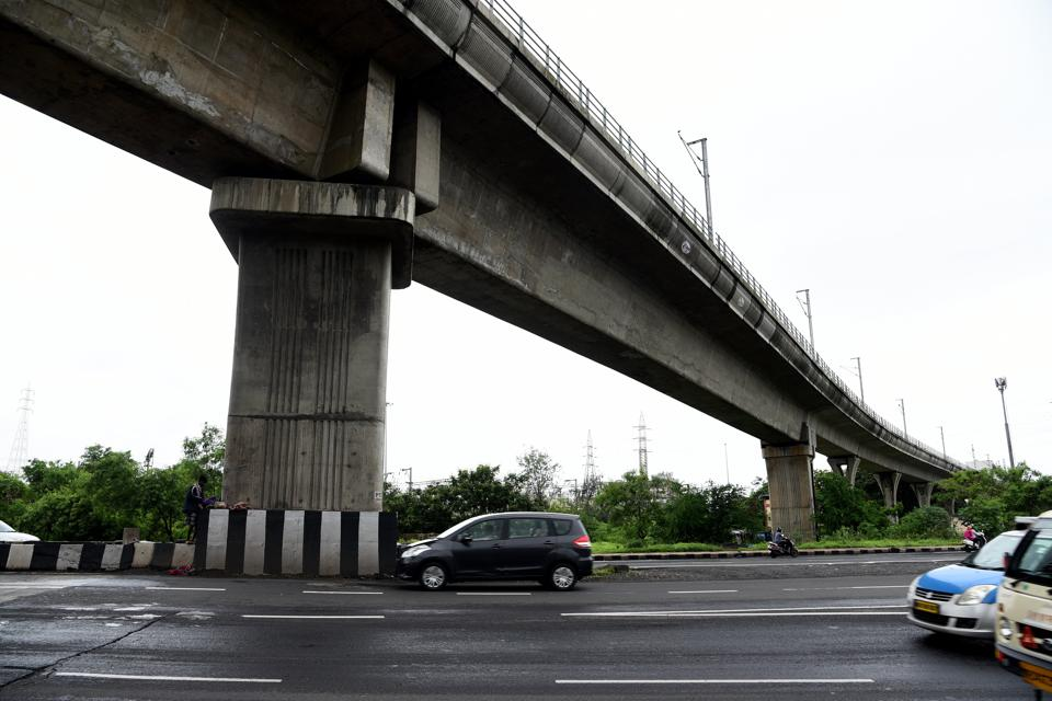 First ride by metro at Kharghar in Navi Mumbai, India, on Wednesday, July 4, 2018. (Photo by Bachchan Kumar/ Hindustan Times)