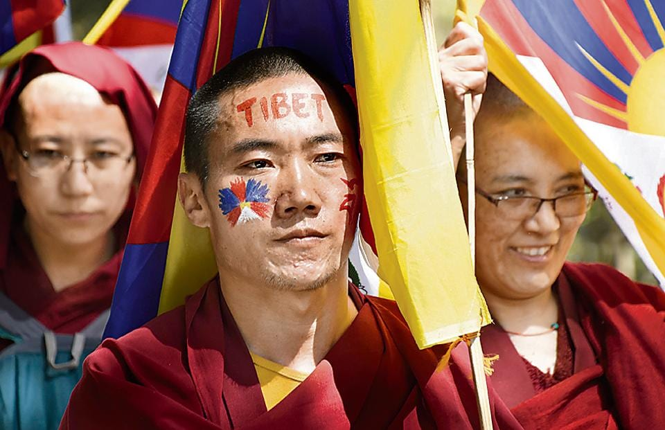 Tibetan Buddhist monks stage a rally on March 10, 2018 in Dharamsala on the occasion of the 59th anniversary of the failed 1959 uprising against Chinese occupation of Tibet.